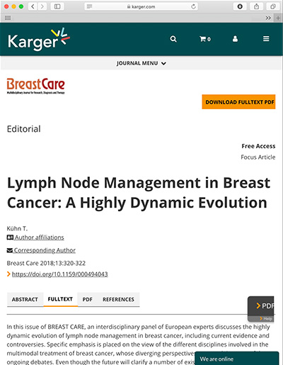 Lymph Node Management in Breast Cancer