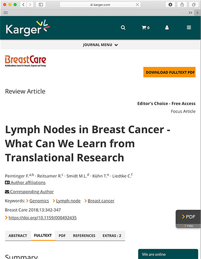 Lymph Nodes in Breast Cancer - What Can We Learn from Translational Research