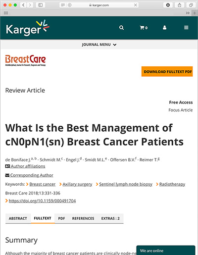 What Is the Best Management of cN0pN1(sn) Breast Cancer Patients